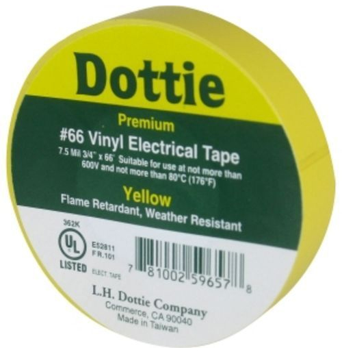 "Tape Yellow Premium PVC 3/4"" X 66'"