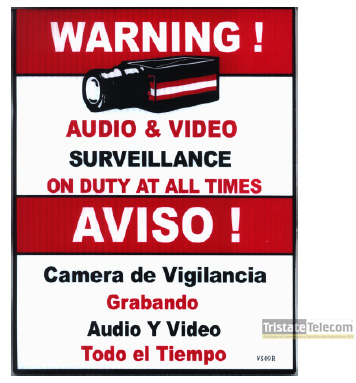 "Sign 24 HOUR VIDEO SURVEILLANCE 12""x15"""