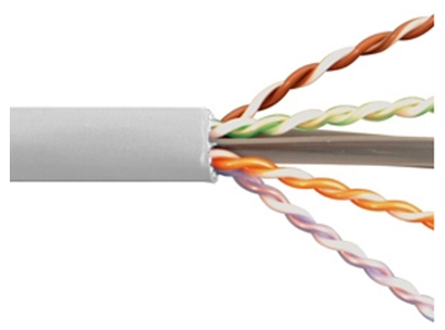 Cable Cat 6A 4 PR 1000' PVC White