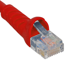 PATCH CORD, CAT 5e, MOLDED BOOT, 1' Red